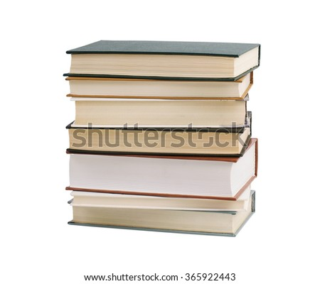 Stack of thick books on a white background