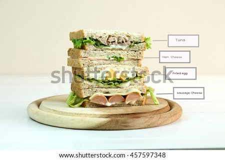 Stack of three delicious toasted sandwiches with different fillings including tuna, ham,cheese, fried egg, sausage , all garnished with herb and salad ingredient and text in name for ingredient. - stock photo