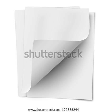 Stack of three empty white sheets of notebook paper with one deflected corner isolated. Raster version illustration. - stock photo