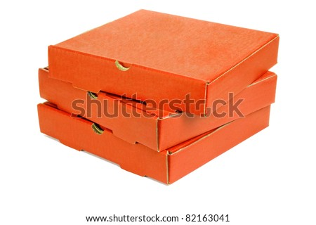 Stack of three pizza takeaway boxes on white background