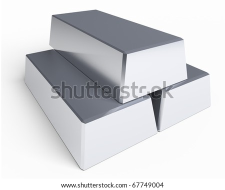 stack of three silver bars isolated on white background with slight shadow - stock photo