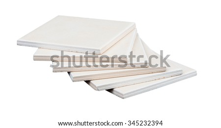 Stack of tiles on isolated white background