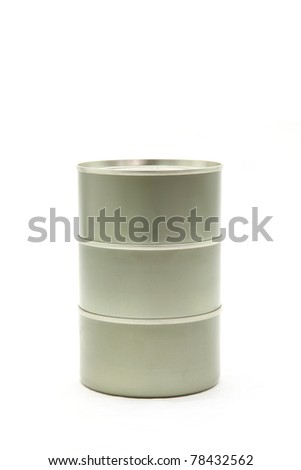 stack of tin aluminum food can on white background