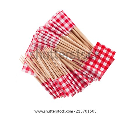 Stack of toothpicks isolated on white - red