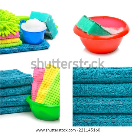 Stack of towels, bright napkins in the bowl isolated on white background. Collage - stock photo