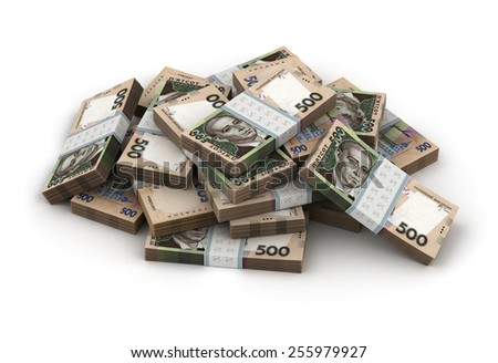 Stack of Ukrainian Hryvnia