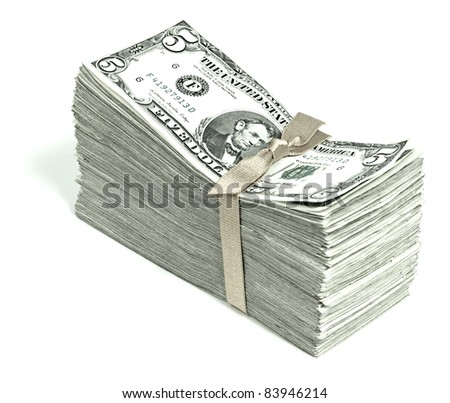 Stack of United States Currency Tied in a Ribbon - Fives