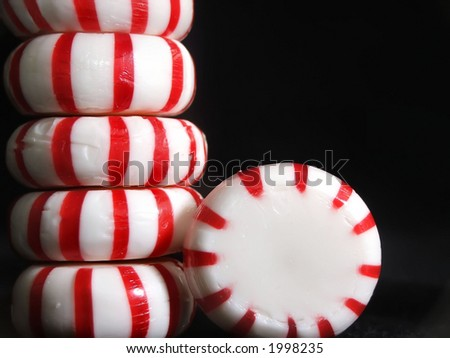 stack of unwrapped peppermint candies