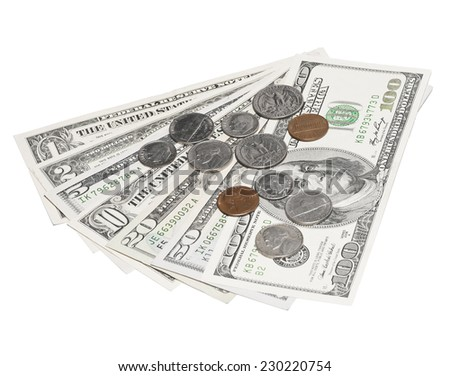 Stack of US Dollars backround. Notes face value of all US dollars isolated white - stock photo