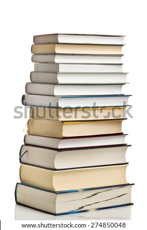 Stack of Used Books as Education Concept on White Background