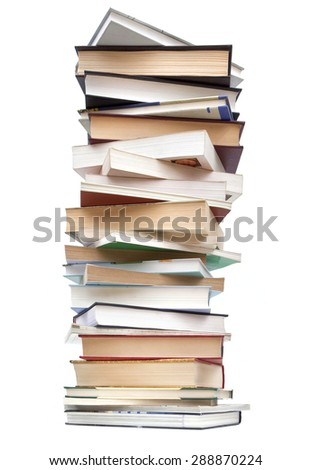 stack of used books on a white background