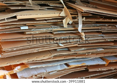 Stack of used cardboards - stock photo
