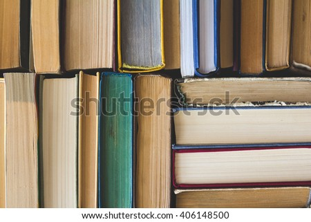 Stack of Used Old Books, top view - stock photo