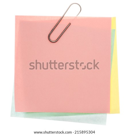 Stack of varicoloured memos with silver paper clip on a pure white background. Waiting for your message. - stock photo