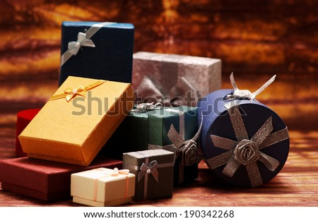 Stack of various gift boxes - stock photo