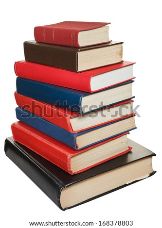 stack of various size books isolated on white background
