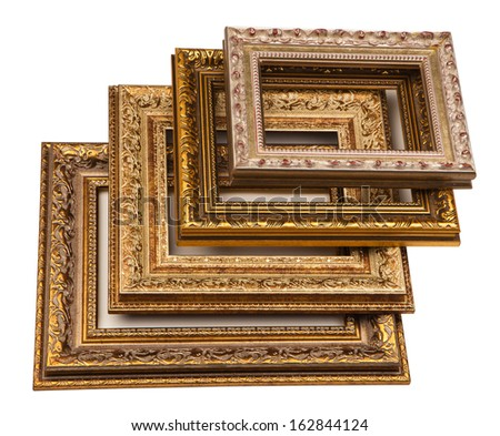 Stack of vintage frame, isolated on white. - stock photo