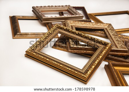 Stack of vintage frame isolated on white background - stock photo