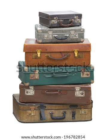 Stack of vintage luggage suitcase isolated included clipping path - stock photo