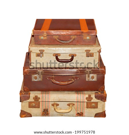 Stack of vintage luggage suitcase isolated included clipping path