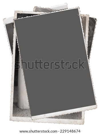 Stack of Vintage photos with clipping path for the inside - stock photo