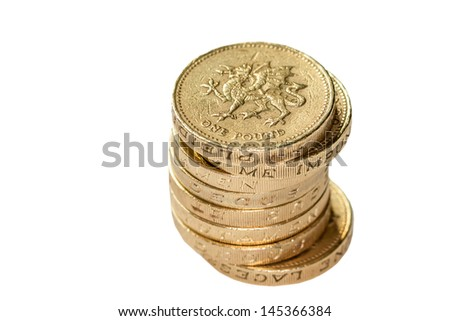 Stack of Welsh Pound Coins isolated on White - stock photo