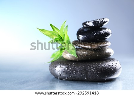 Stack of wet spa stones with green leaves on light blue background - stock photo