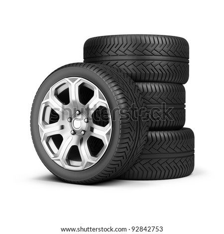 Stack of wheels. 3d image. Isolated white background. - stock photo