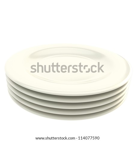 Stack of white ceramic plate dishes isolated on white background