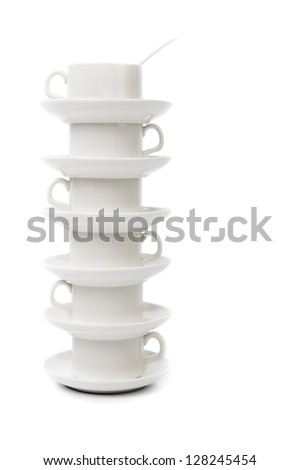 stack of white coffee cups on a white background - stock photo