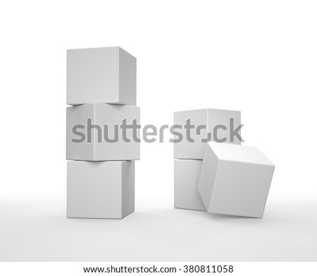Stack of white cubes on white background. 3D render. - stock photo
