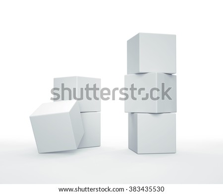 Stack of white cubes on white background. 3D render.