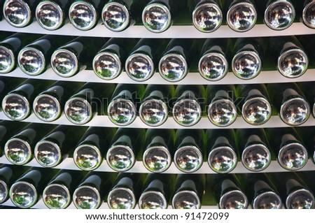 Stack of wine bottles - stock photo