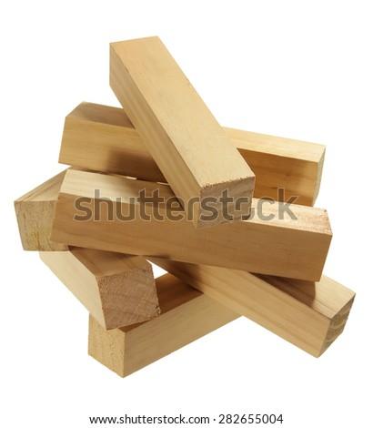 Stack of Wood Blocks on White Background - stock photo