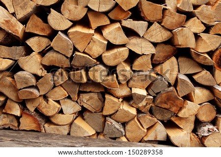 stack of wood logs - stock photo