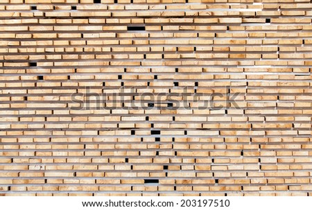 stack of wood logs for background in Lumber mill. - stock photo