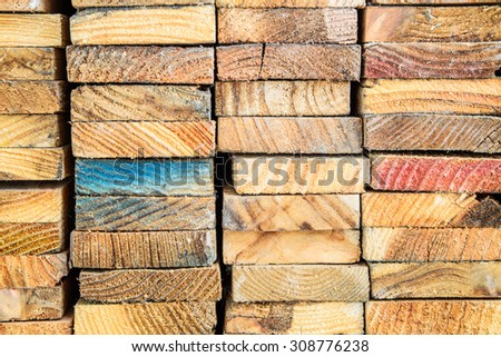 Stack of wood lumber for background, Stacked Wood Cut - stock photo