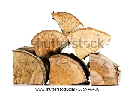 Stack of wood pieces. Isolated on white. - stock photo