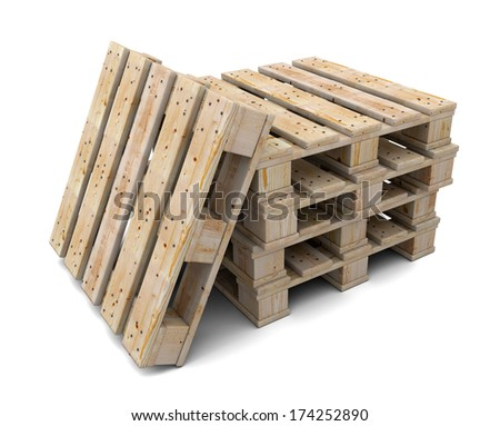 Stack of wooden pallets isolated on a white background. One pallet near. - stock photo
