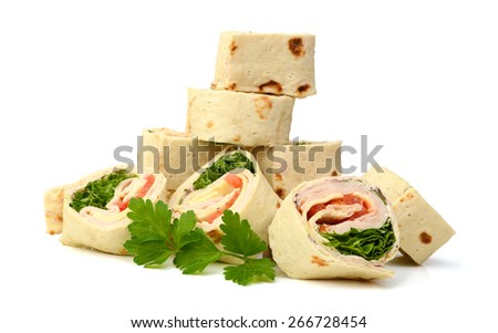 stack of wrapped tortilla sandwich rolls isolated on white  - stock photo