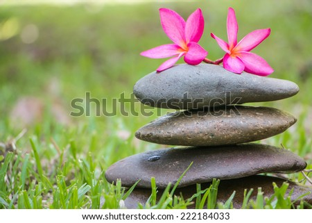 Stack of zen stone with red plumeria flower