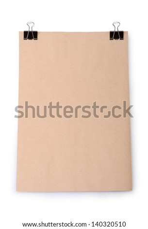 Stack old paper with clips isolated on a white background - stock photo