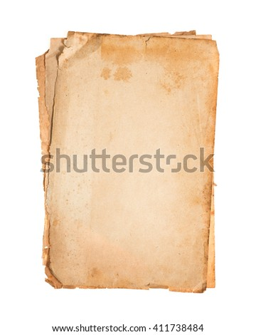 Stack old papers isolated on white background.
