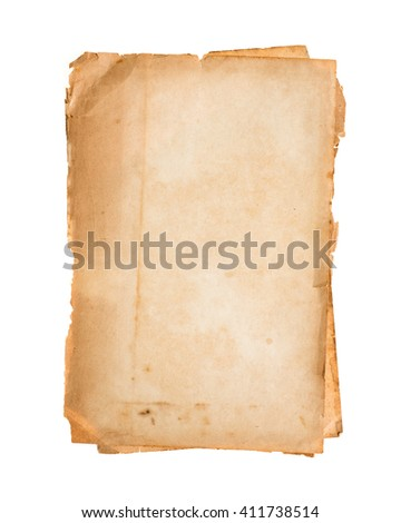 Stack old papers isolated on white background. - stock photo