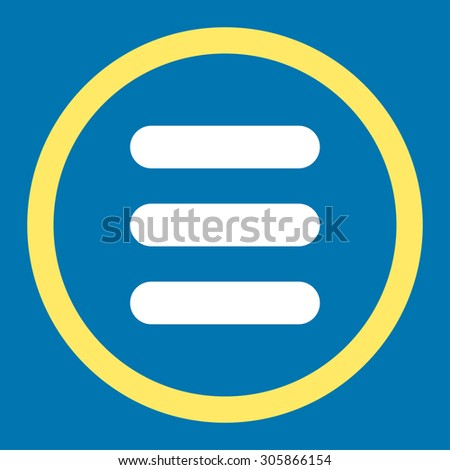 Stack raster icon. This rounded flat symbol is drawn with yellow and white colors on a blue background.