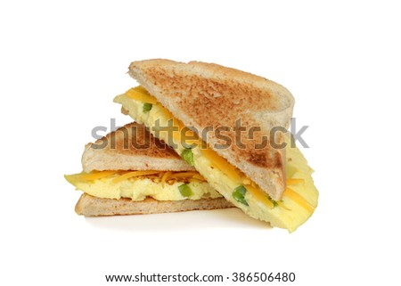 stack toasted omelette sandwich - stock photo