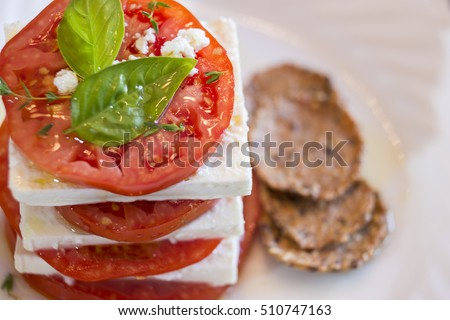 Stack with Organic beef Tomatoes and Feta