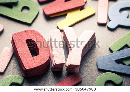 Stack wood letters as Do it yourself (DIY)word - stock photo