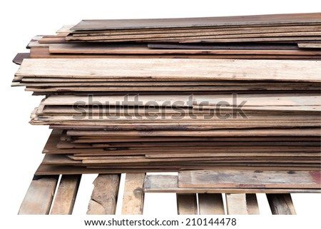 stack wood plank isolated on white - stock photo