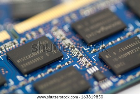 Stacked and fanned pile of computer memory - stock photo